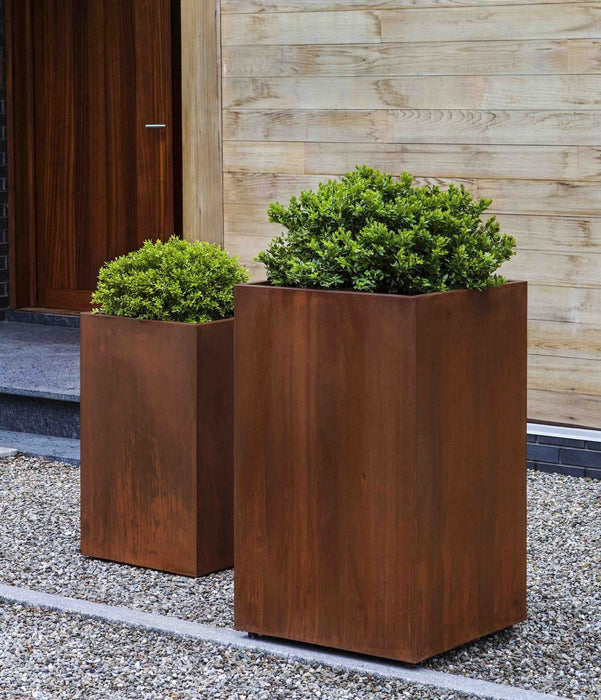 Steel Tall Cube Planter - Set of 2 in Steel