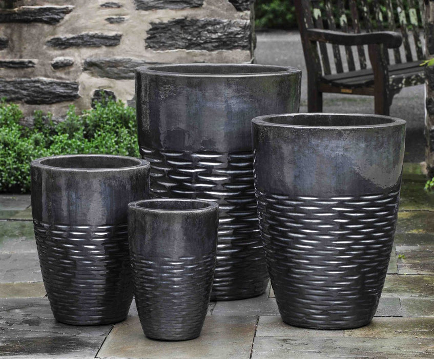 Tall Hyphen Planter  - Set of 4 in Ice Black