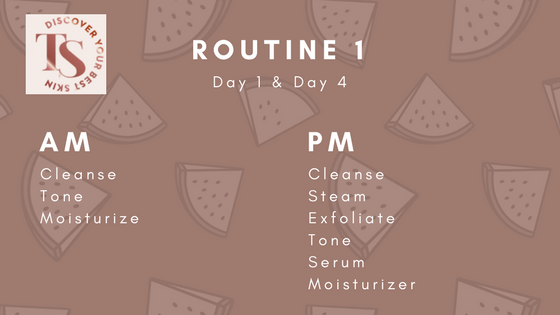 Routine 1 of a 7-day skincare routine