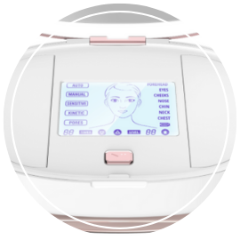 The touch screen allows you to choose your treatment mode between 3 different microdermabrasion modes, kinetic toning, or pore extraction.