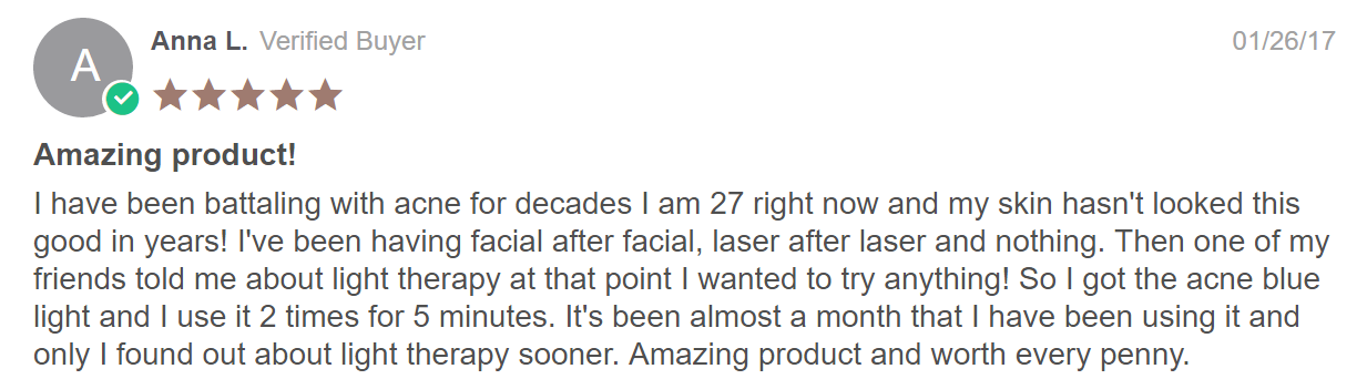 bluemd blue light therapy customer review that it works for acne