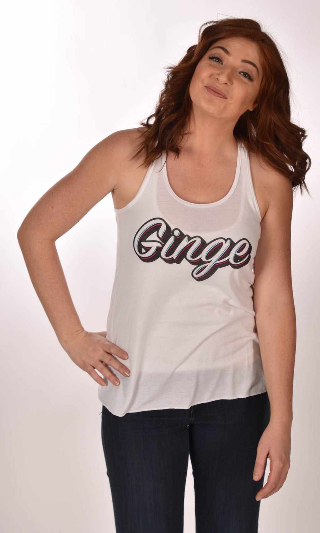 Ginge Hustle Flowy Tank Top White Ginger Problems - Red Hair Don't Care