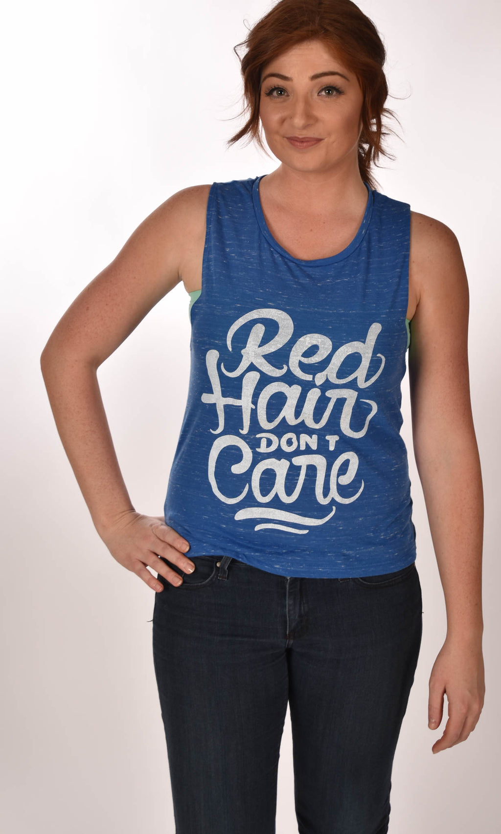 Red Hair Don't Care Flowy Muscle Tank - Marble Blue Ginger Problems - Red Hair Don't Care