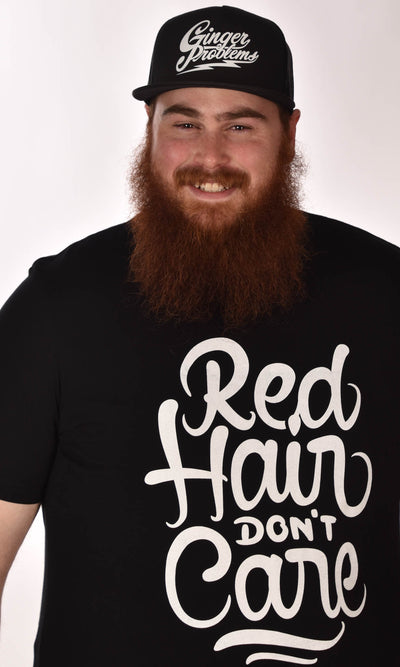 Red Hair Don't Care Swirl Black Unisex Tee - XXL Ginger Problems