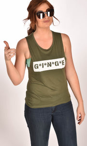 MASH Flowy Scoop Muscle Tank Top Military Green Ginger Problems - Red Hair Don't Care