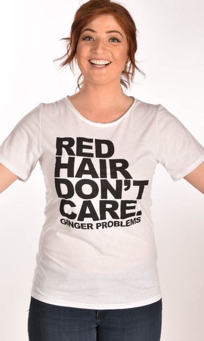 Red Hair Don't Care Classic Raw Neck Unisex Tee Ginger Problems