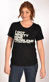 99 Problems Raw Neck Black Unisex Tee Ginger Problems