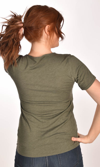 MASH Unisex Raw Neck Military Green Tee Ginger Problems