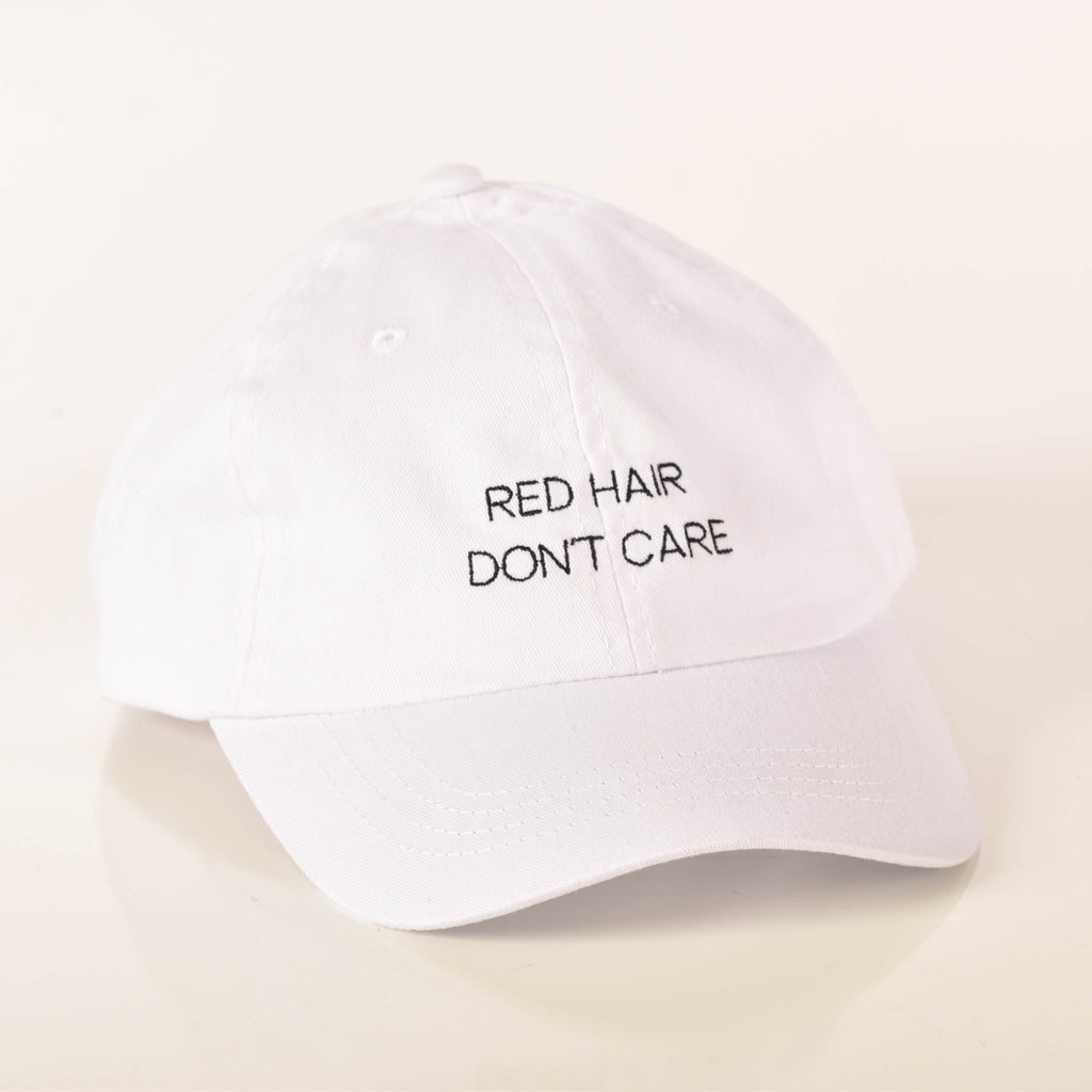 Red Hair Don't Care Simple White Hat