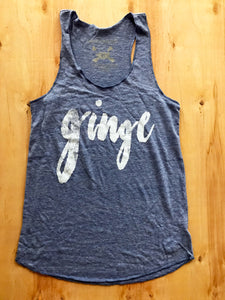 GINGE Vintage Blue Ladies Tank Top Ginger Problems - Red Hair Don't Care