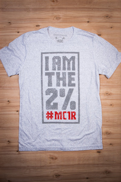 I Am The 2% #MC1R - White Fleck Tee Ginger Problems - Red Hair Don't Care