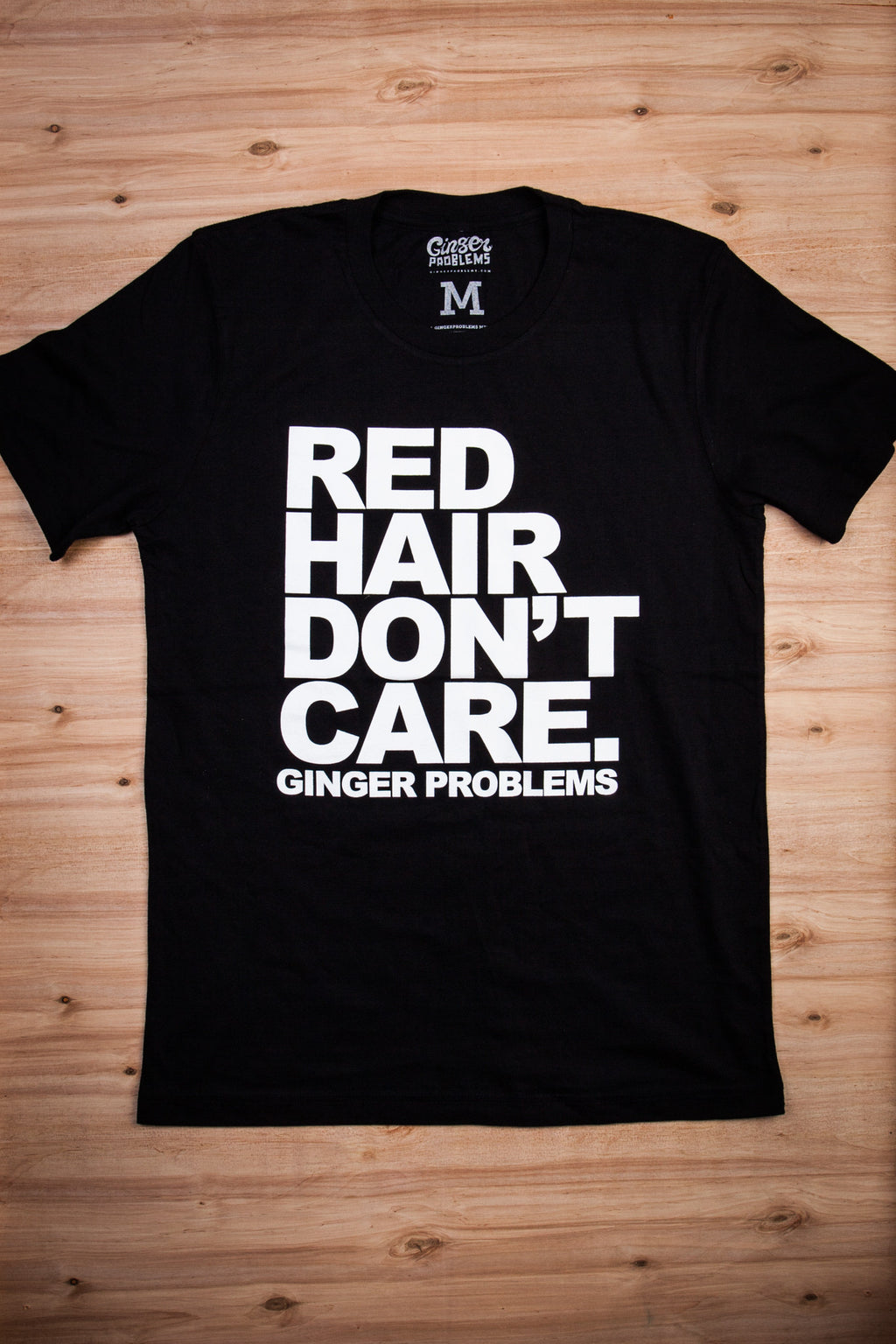 Classic Red Hair Don't Care Black Tee Ginger Problems