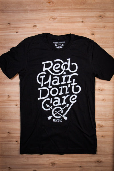 Red Hair Don't Care Fade Vintage Black Tee Ginger Problems - Red Hair Don't Care