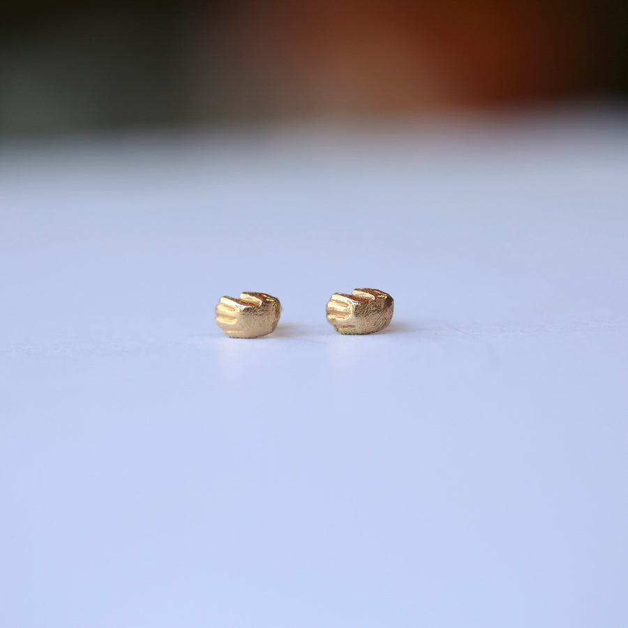 Stud Earrings - TINY HAND - Sterling Silver or 14K Gold