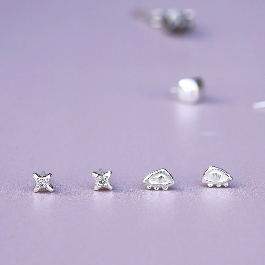 Stud Earrings - DOTTED EYES- Sterling Silver or 14K Gold