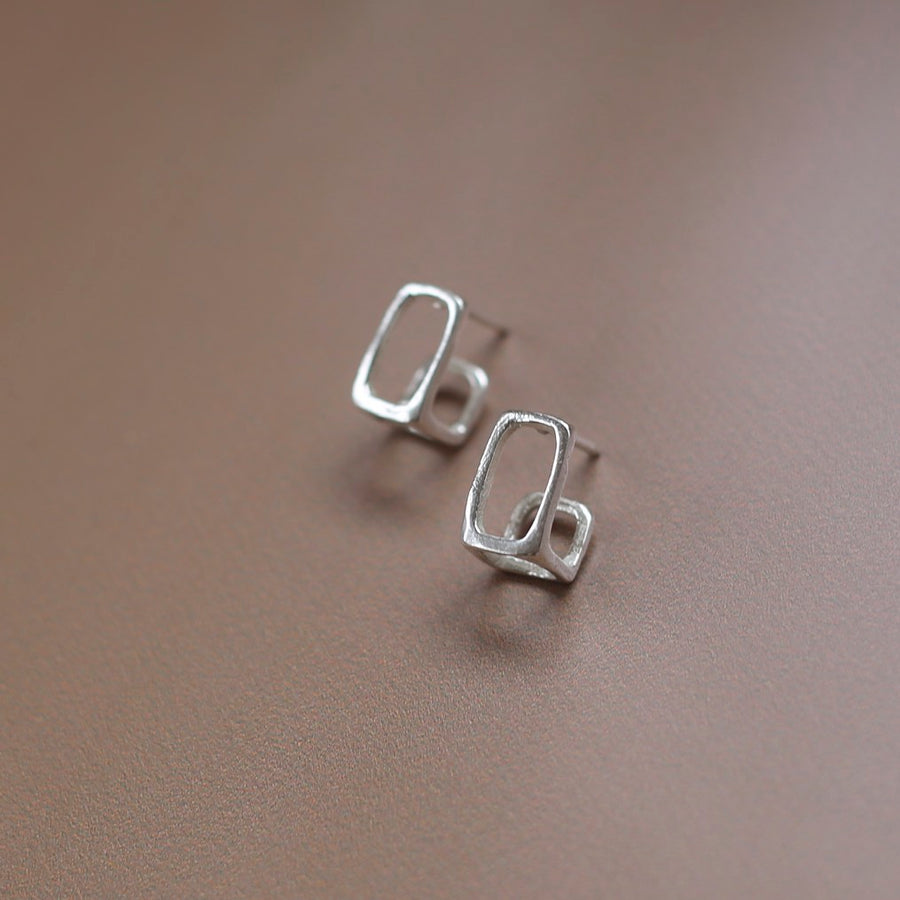 Stud Earrings - BOX FRAME HOOPS - Sterling Silver or 14K Yellow Gold