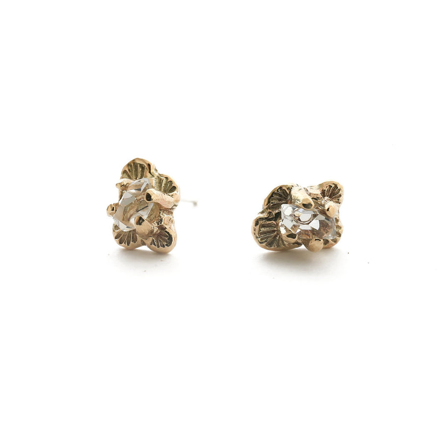 Stud Earrings - FLORAL + QUARTZ -  14K Gold