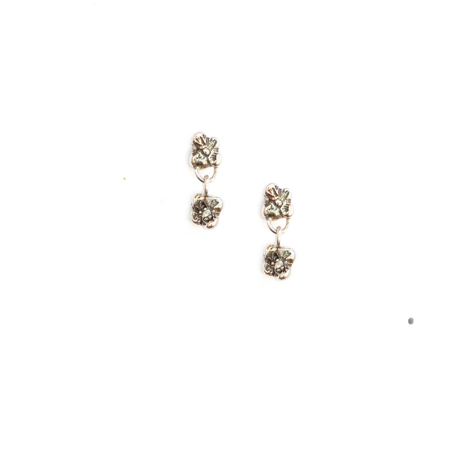 TINY TWO FLOWER Stud Earrings