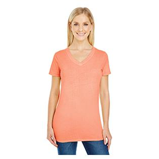 Threadfast Apparel Ladies Pigment Dye Short Sleeve V Neck T-Shirt