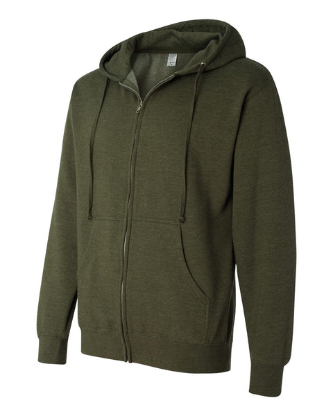 Independent Trading Co Midweight Hooded Full Zip Sweatshirt