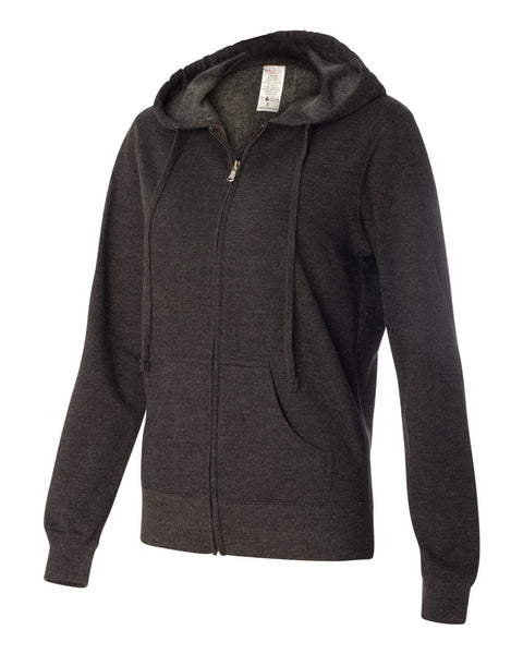 Independent Trading Co Juniors' Lightweight Full Zip Hooded Sweatshirt