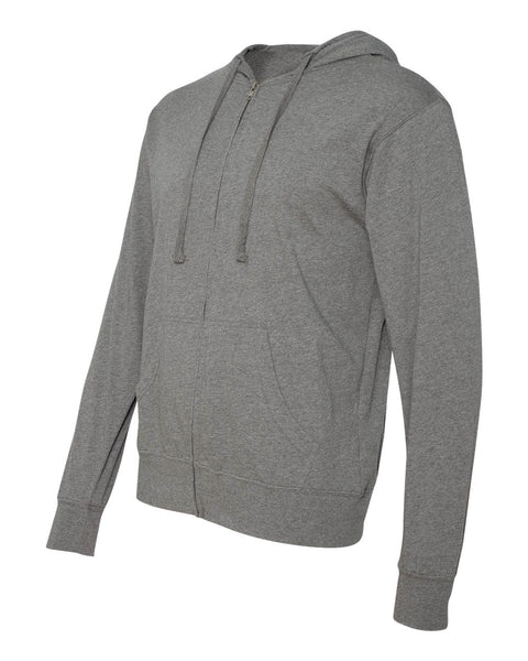 Independent Trading Co Lightweight Jersey Hooded Full Zip T-Shirt