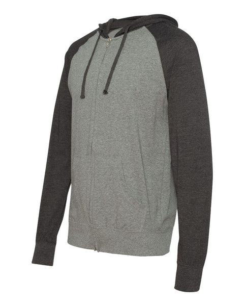 Independent Trading Co Lightweight Jersey Raglan Hooded Full Zip T-Shirt