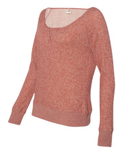 Independent Trading Co Juniors' Wide Neck Sweaterfleece Crew