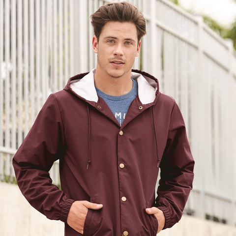 Independent Trading Co Hooded Water Resistant Windbreaker Jacket