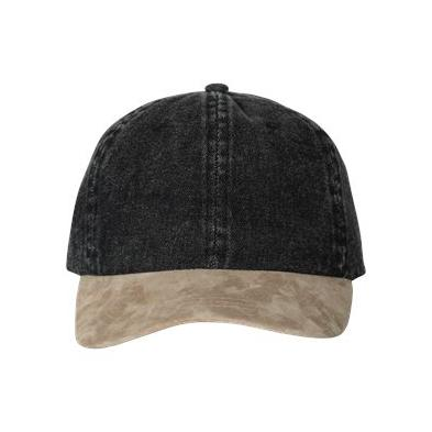 Mega Cap Washed Denim With Suede Bill Cap