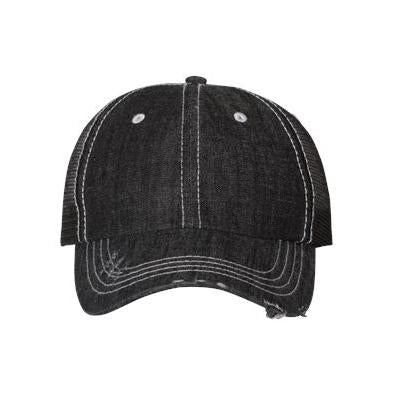 Mega Cap Herringbone Unstructured Contrast Stitch Trucker Cap