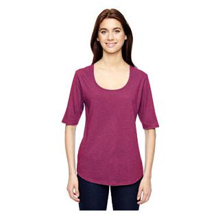 Anvil Ladies Triblend Deep Scoop Half Sleeve T-Shirt