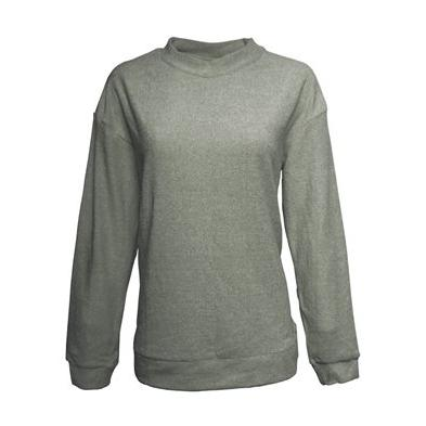 J America Ladies Weekend French Terry Mock Neck Crew