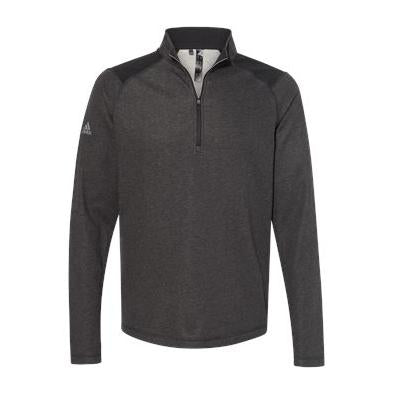 Adidas Heathered Quarter Zip Pullover with Colorblocked Shoulders