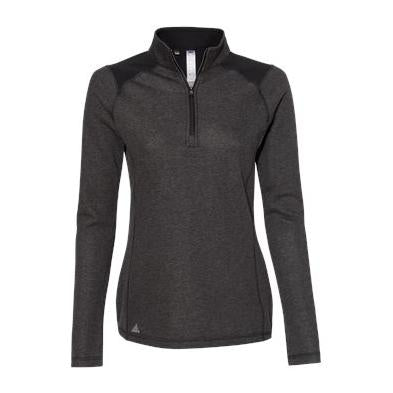 Adidas Women's Heathered Quarter Zip Pullover with Colorblocked Shoulders