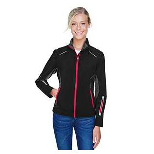 Ash City - North End Sport Red Ladies Pursuit Three Layer Light Bonded Hybrid Soft Shell Jacket with Laser Perforation