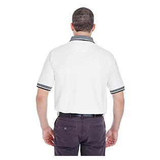 UltraClub Adult White Body Classic Piqu Polo with Contrast Multi Stripe Trim