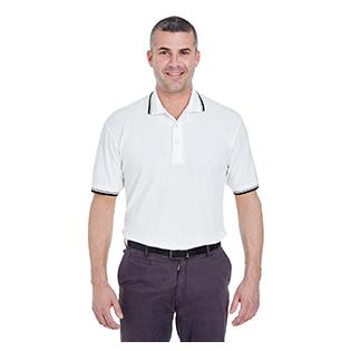 UltraClub Mens Short Sleeve Whisper Piqu Polo with Tipped Collar and Cuffs
