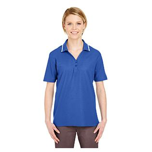 UltraClub Ladies Short Sleeve Whisper Piqu Polo with Tipped Collar