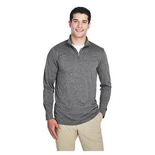 UltraClub Mens Cool & Dry Heathered Performance Quarter Zip