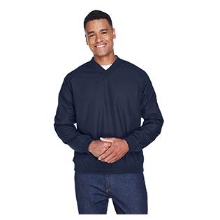 UltraClub Adult Long Sleeve Microfiber Crossover V Neck Windshirt