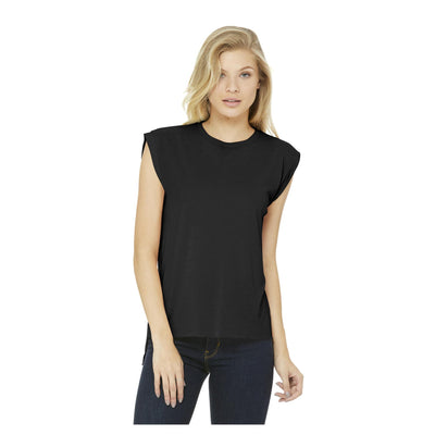 Bella + Canvas Ladies Flowy Muscle T-Shirt with Rolled Cuff