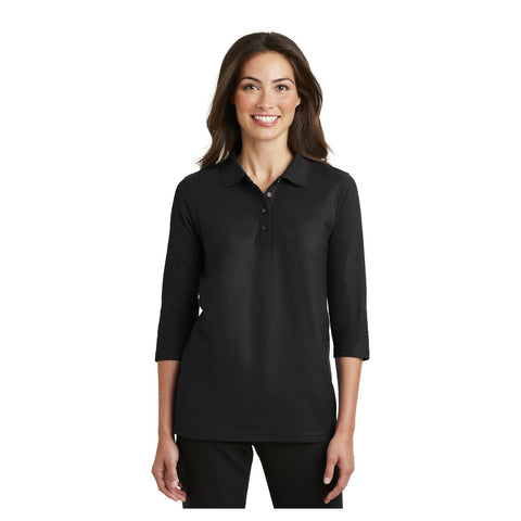 Port Authority Ladies Silk Touch 3/4 Sleeve Polo