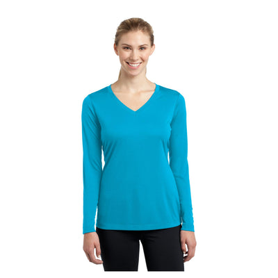 Sport-Tek Ladies Long Sleeve PosiCharge Competitor V Neck Tee