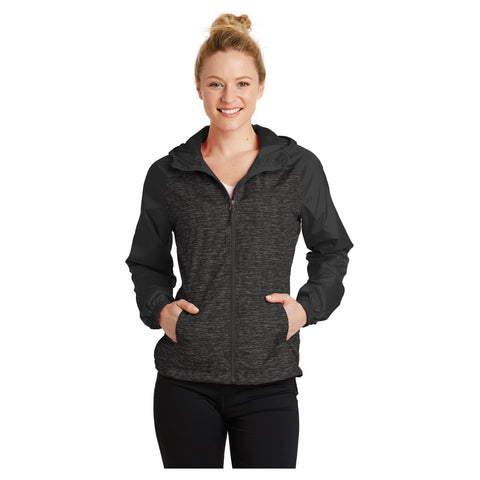 Sport-Tek Ladies Heather Colorblock Raglan Hooded Wind Jacket