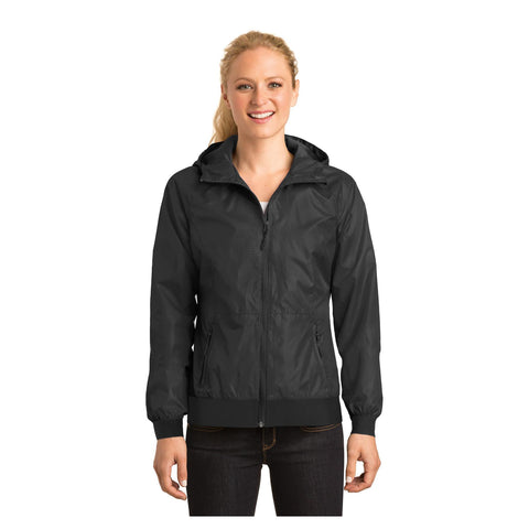 Sport-Tek Ladies Embossed Hooded Wind Jacket