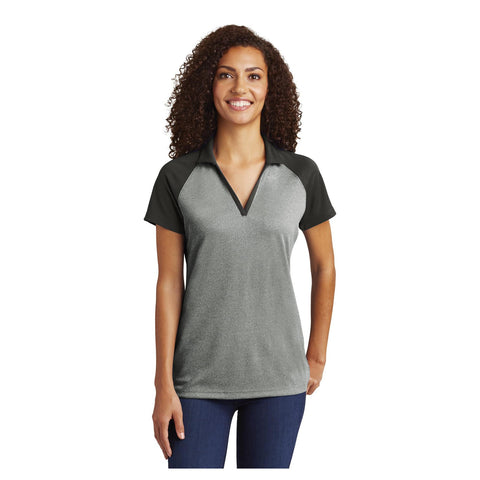 Sport-Tek Ladies PosiCharge RacerMesh Raglan Heather Block Polo