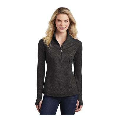 Sport-Tek Ladies Sport Wick Stretch Reflective Heather 1/2 Zip Pullover