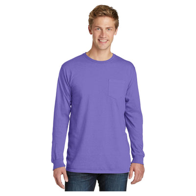 Port & Company Pigment Dyed Long Sleeve Pocket Tee