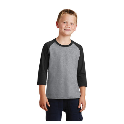 Port & Company Youth Core Blend 3/4 Sleeve Raglan Tee